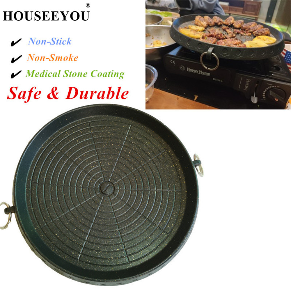 HOUSEEYOU Korean Barbecue Baking Dish Pan BBQ Grills Tray with Medical Stone Coating for Home Outdoor Gas Stoves Use Portable-in BBQ Grills from Home & Garden    1