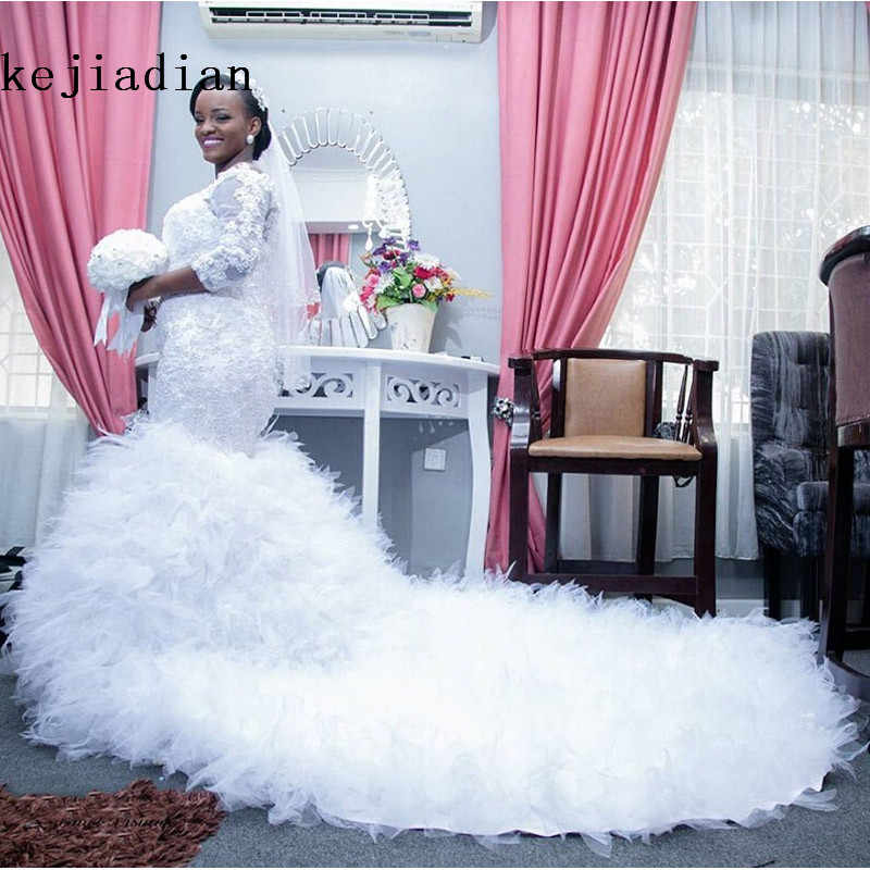 b1a13364d02 2017 Chapel Train Ruffle Organza African Wedding Dress Mermaid three  quarter Sleeves Plus Size Boat Neck