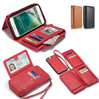 携帯電話財布のためのiphone 6 6 s 7 8プラスxハンドバッグビッグ容量マネーカードフォト収集puレザー磁気ケースクラッチ