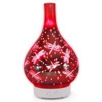 3d libélula fogo de artifício vidro vaso forma umidificador de ar com 7 cores led night light aroma difusor óleo essencial névoa maker ult