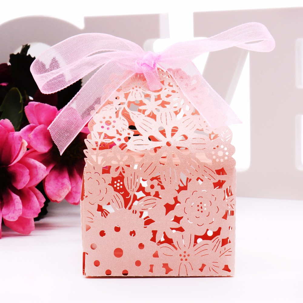 50pcs Wedding Event Favors candy box Laser Cutting Flowers Gift ...