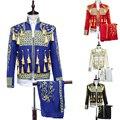 (Jakcet + calça + colete) terno masculino jaqueta blazer prom festa de casamento trajes traje Espanhol Europeu Dos Homens cavaleiro para a cantora dançarina