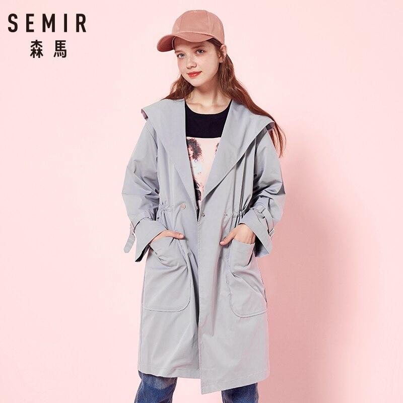 SEMIR Long-Coat Fashion Windbreaker Hooded Female Autumn New for Girls Waist Elegant