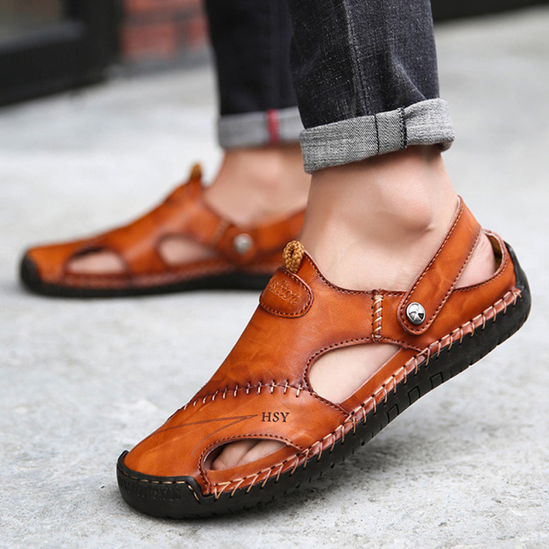 2019 Summer Sandals Men Slippers Summer Casual Leather Flat Shoes Soft Comfortable Beach Sandals Big Size 38-48(China)