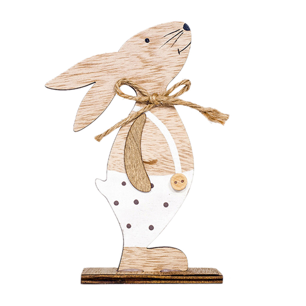 Easter Home Desk Decor Wooden Rabbit Shapes Ornaments Craft Gifts Pendant