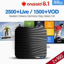 Spain IPTV Europe Italy Germany IUDTV T95X2 Android 8.1 S905X2 4K H.265 Built In 2.4G WIFI 2+16G 1 Year Nordic Albania