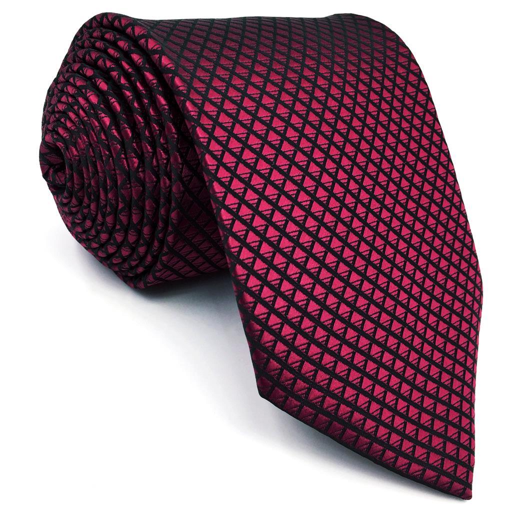 UZ25 Solid Red Burgundy Mens Slim Tie Silk Skinny Necktie Crimson 6cm