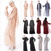 Muslim Women Dress Islamic Long Sleeve Maxi Abaya Kaftan Arab Clothes