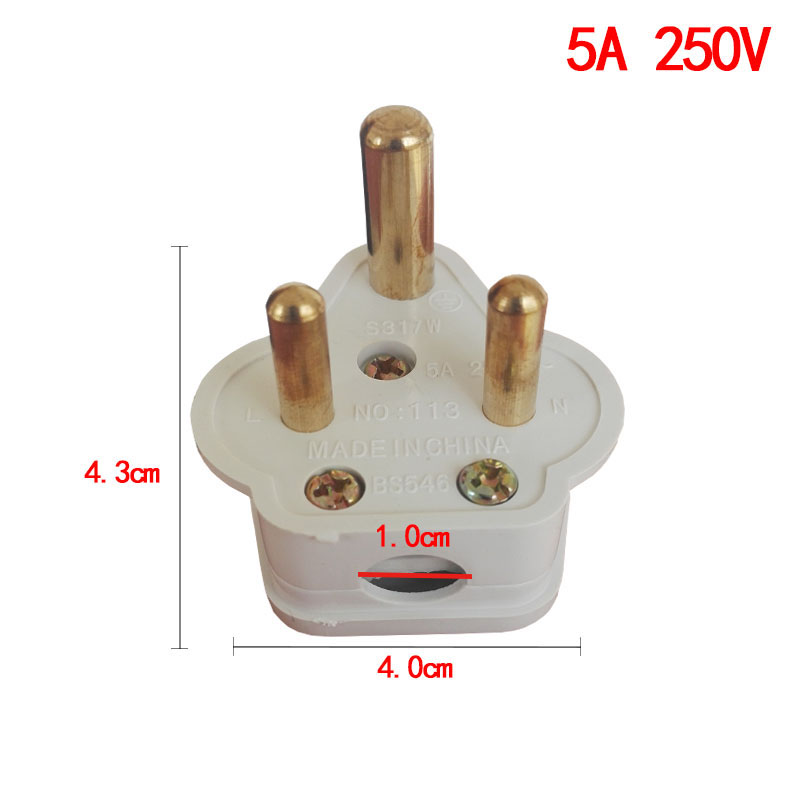 5PCS South Africa 3 Round Pin Electrical Plug 5A 15A 250V AC Power Adapter Pure Copper Power Plug Removable Plug in Electrical Plug from Consumer Electronics