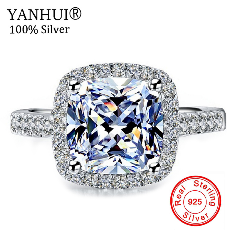 YANHUI Real 100% Sterling Silver Rings Jewelry Inlay 3 Carat SONA CZ Stone Wedding Rings ...