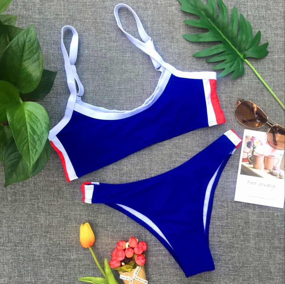 Conjunto de Bikini deportivo de retazos Sexy para mujer, ropa de playa de verano, traje de baño Push Up, traje de baño para playa, voleibol, Biquini