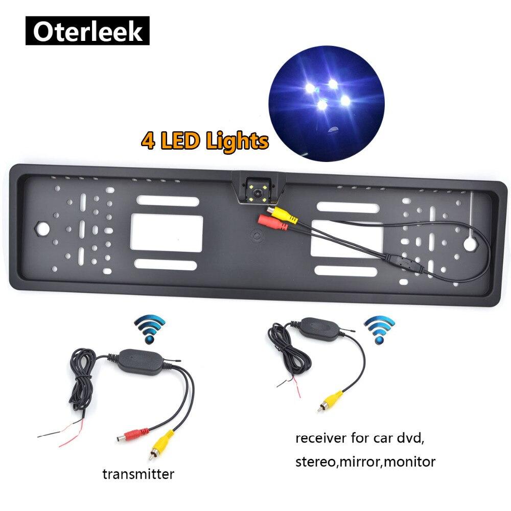 Draadloze Auto Achteruitrijcamera EU Nummerplaat Frame Reverse Camera LED Night Vison Parktronic Parking Camera Voor Auto Monitor