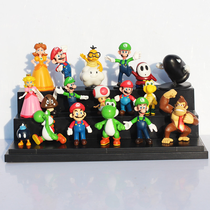 18Pcs/Set Super Mario Bros Yoshi Dinosaur Peach Toad Goomba PVC Action Figures Toys 2~6cm Free Shipping цена