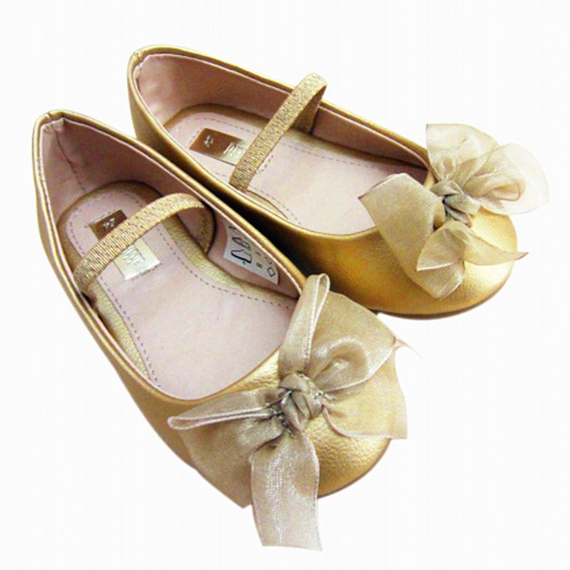 Floral Girls Golden Shoes 2016 Bbay Big Head Shoes Euro Brand Girls Party School Shoes Good Breathability Anti-slide