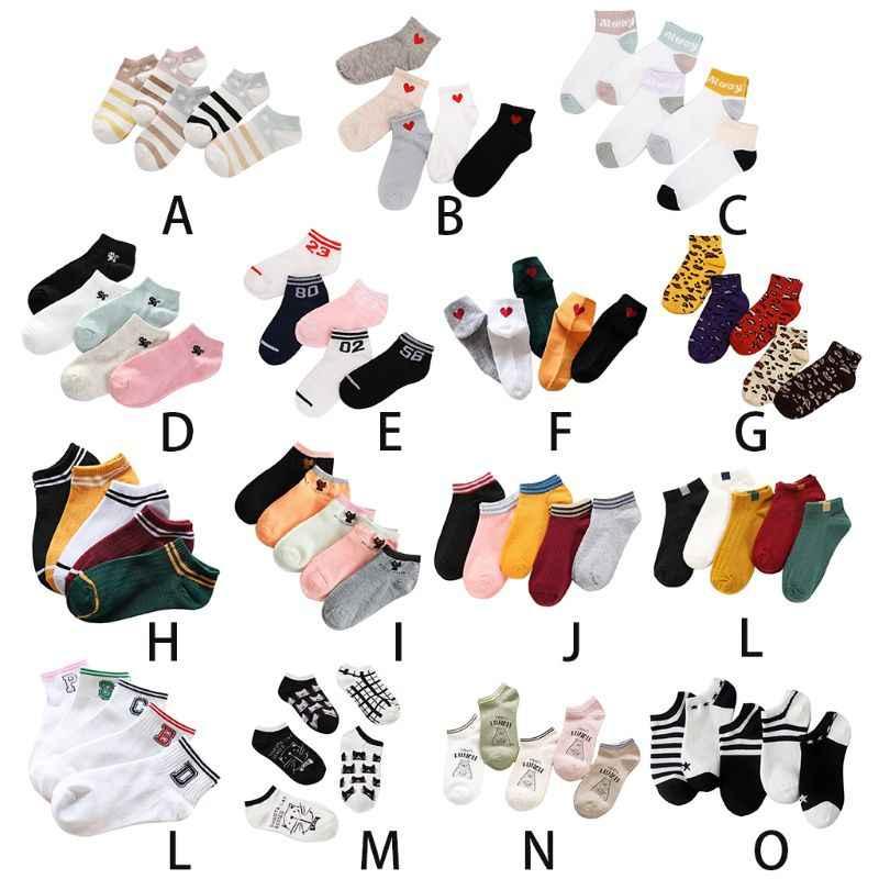 15 estilos mujeres Unisex coreano algodón corto barco Calcetines antideslizantes acanalado dulce niñas leopardo lindo gato impreso calcetería Color al azar