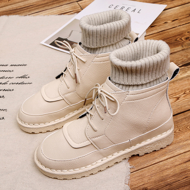 6dae4f9bd9a MONMOIRA Warm Knitting Sock Boots Lace up Short Plush Warm Winter Boots for  Women Vintage Ankle Boots Women Shoes SWE0178