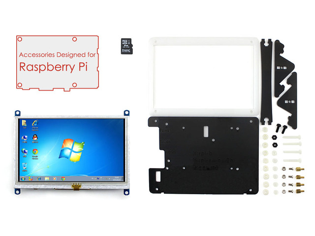Módulo de exibição raspberry pi 5 polegada lcd hdmi 800*480 tela sensível ao toque suporte vários sistemas + bicolor caso + 8 gb cartão micro sd = rpi acce