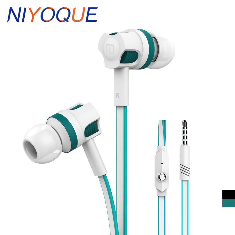 NIYOQUE Stereo Earphones 3.5MM in-ear Earbuds Super Bass sound Earphone with flat cable with mic for iPhone Xiaomi image
