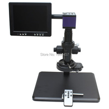 On sale HDMI HD USB Digital Industry Microscope Camera+Fine Adjustment Bracket+10X-200X C-Mount Lens+144 LED Light+8-inch Monitor