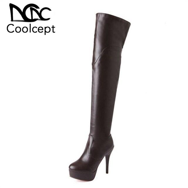 Mulheres de Salto Alto Sobre O Joelho Botas Senhoras Botas Equestres Militares Moda Longo Bota Calçados Inverno Quente Sapatos Tamanho 32- 43