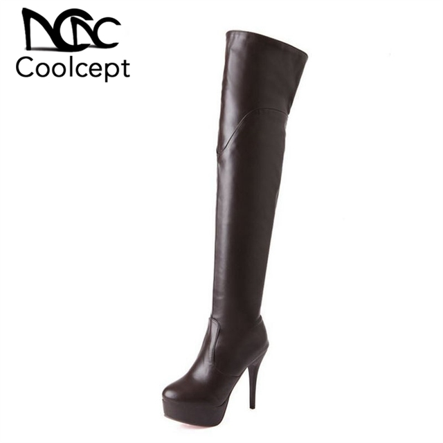 Women High Heel Over Knee Boots Ladies Botas Equestrian Militares Fashion Long Boot Warm Winter Footwear Shoes Size 32-43
