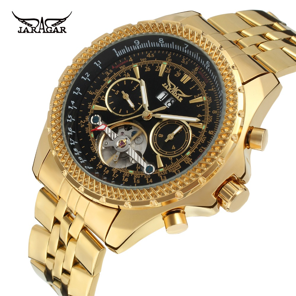 2df914265db6 2018 jaragar lujo Gold marca Venta caliente relojes hombre automático  tourbillion Acero inoxidable material relojes mecánicos