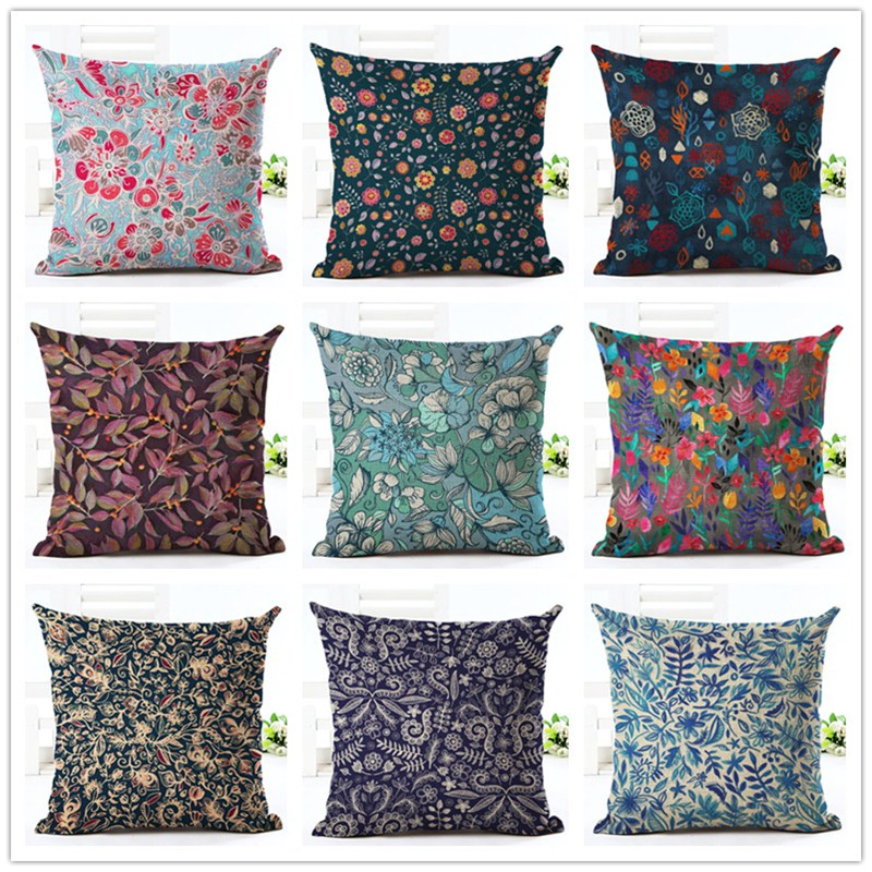 2016 Village Floral Linen Cotton Square Retro Bohemian Home Decor Homeware Throw Pillow Cushion Cover  45x45cm