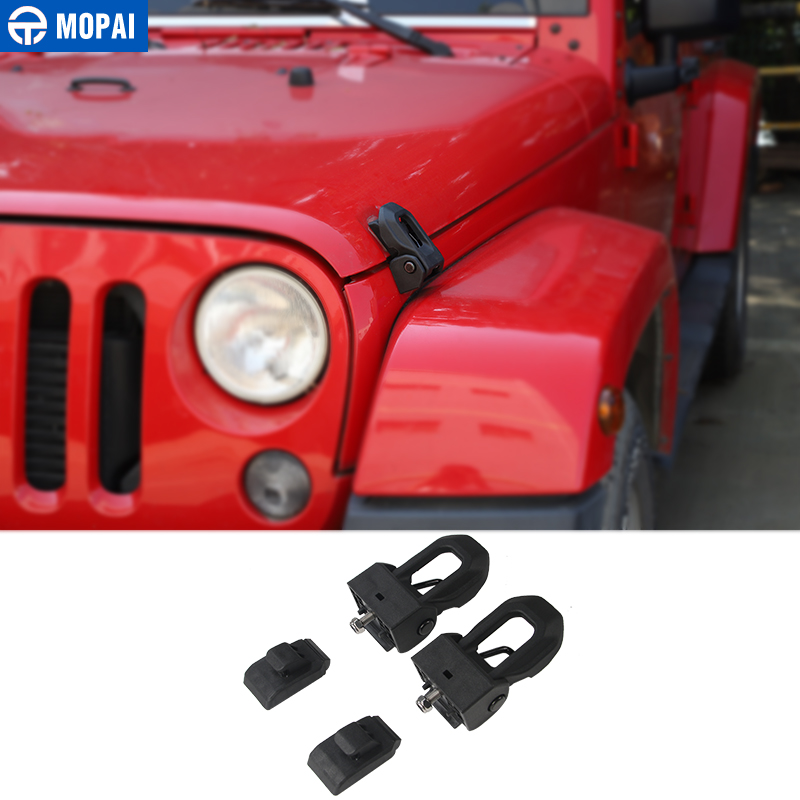 MOPAI Black Car Hood Latch Lock Catch Engine cover Lock Protect for Jeep Wrangler JK 2007 Up Exterior Car Accessories Styling bbq fuka hood latch catch lock bracket latches buckle fit for jeep wrangler jk unlimited 2007 2016 car accessory