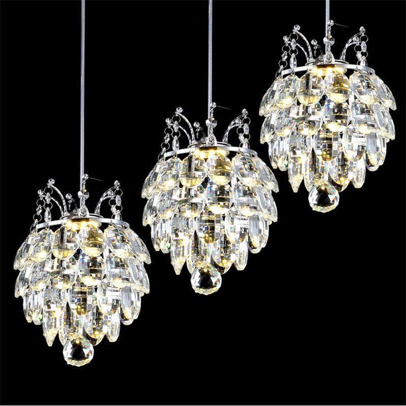 Luxurious Modern Fashion Brief K9 Crystal Led 7w*1/3 Heads Pendant Light for Dining Room Living Room Droplight AC 80-265V 1367 modern fashion luxurious rectangle k9 crystal led e14 e12 6 heads pendant light for living room dining room bar deco 2239