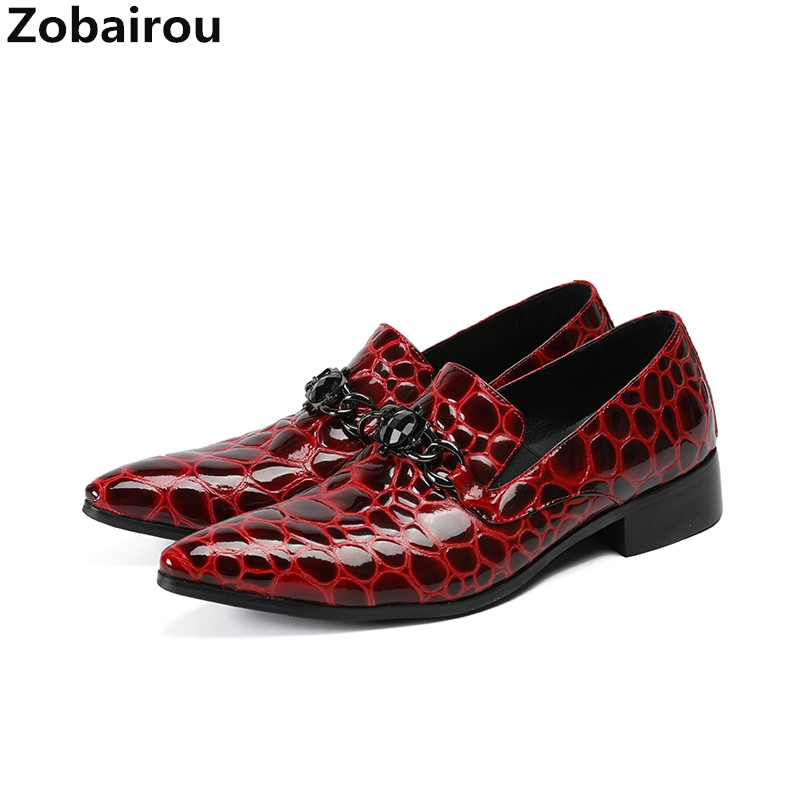 Zobairou zapatos hombre vestir red patent leather metal designer oxford shoes for men pointed toe dress office shoes men 2017 new oxford for men dress genuine leather black red office zapatos lace up pointed toe the trend of black leather shoes