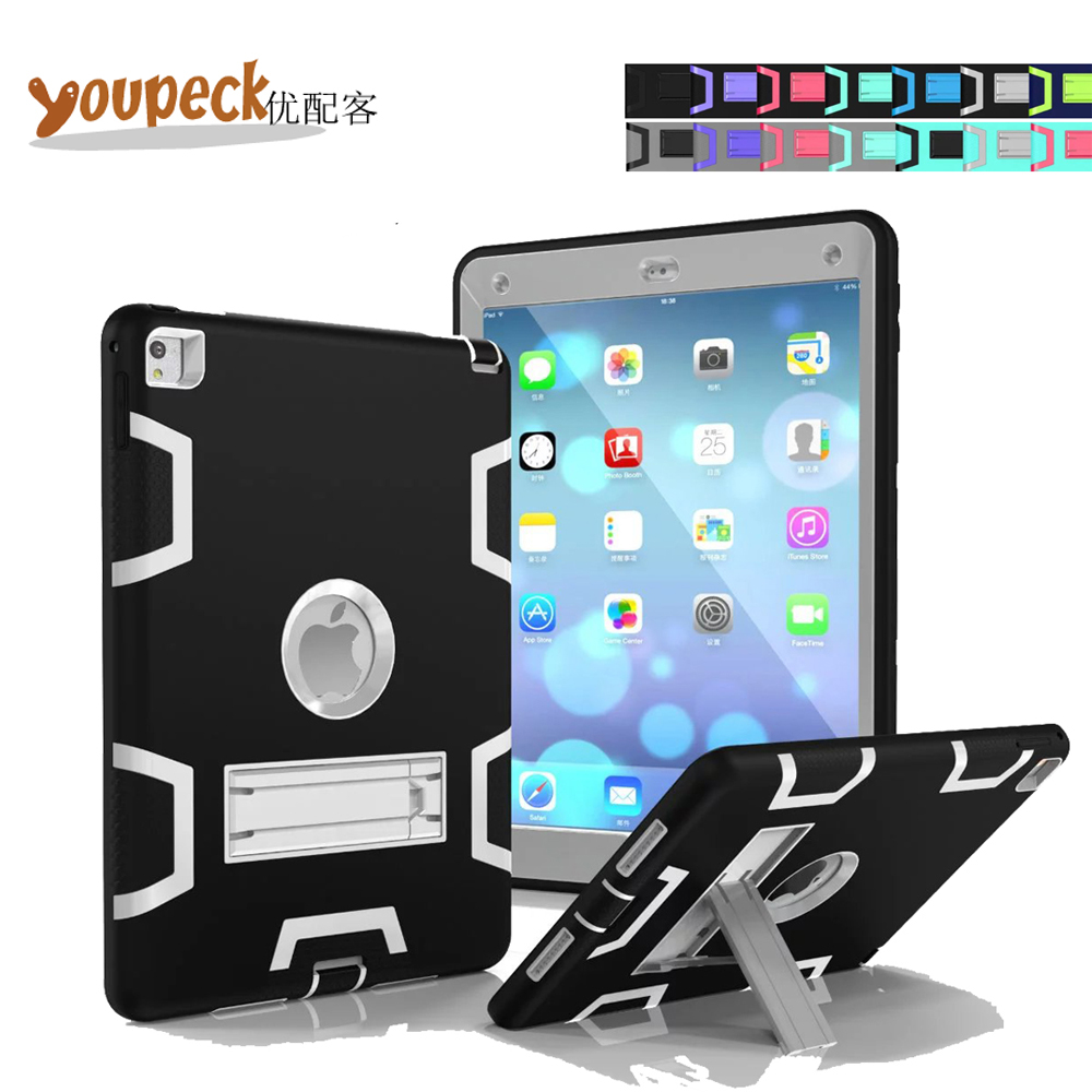 3-Layer Armor Hybrid Shockproof Defender Case for Apple iPad Air 2 9.7 inch Tablet Protective Heavy Duty Rugged Cover w/ Stand