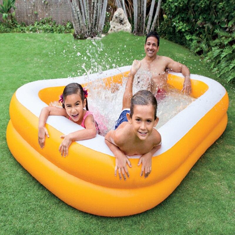 INTEX 229*147*46 CM famille piscine gonflable adulte baignoire gonflable bébé jouer piscine infantile sable piscine avec pompe