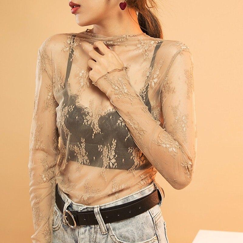 Korea Style Women Long Sleeve Lace Mesh Embroidery   Blouse     Shirt   Blusas Feminino Ladies Transparent   Blouses   Womens Tops Fashion 8