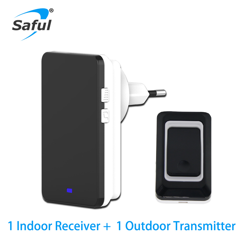 Saful Security Black Button Waterproof Wireless Doorbell EU/AU/US/UK 28 Ringtones LED Lights Free Shipping image