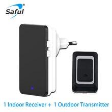 Saful Security Black Button Waterproof Wireless Doorbell EU/AU/US/UK 28 Ringtone