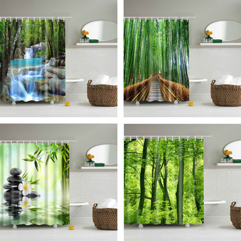 Drzewa leśne drukowane kurtyny kąpielowe 3d wodoodporna tkanina poliestrowa zmywalna łazienka zasłona prysznicowa z akcesoriami do haczyków tanie i dobre opinie NYYBXFKDD forest Poliester shower curtain Europa Ekologiczne