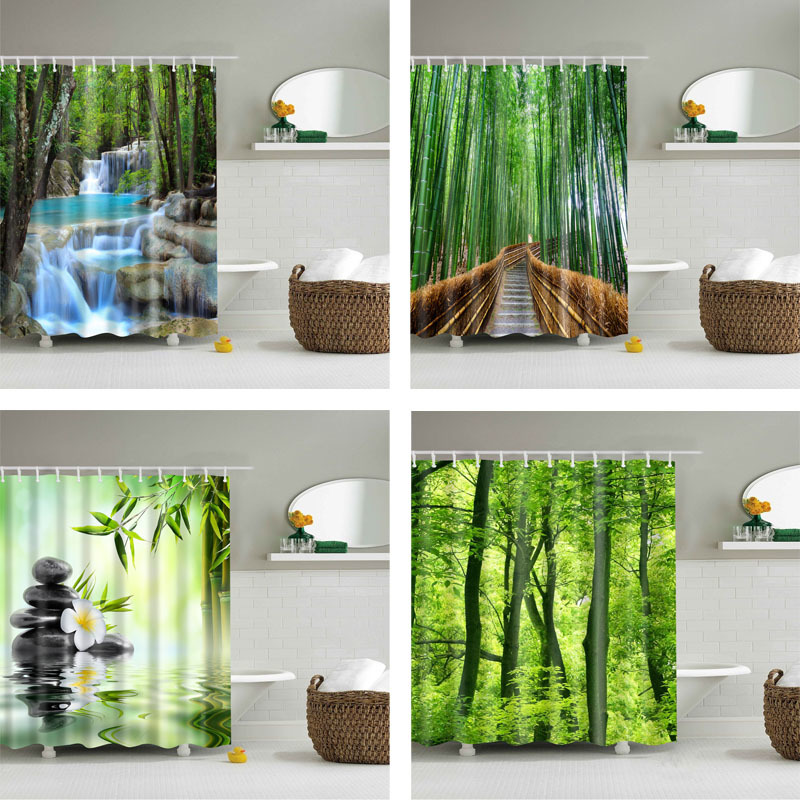 Forest Trees Printed 3d Bath Curtains Waterproof Polyester Fabric Washable Bathroom Shower Curtain Screen with Hooks Accessories(China)