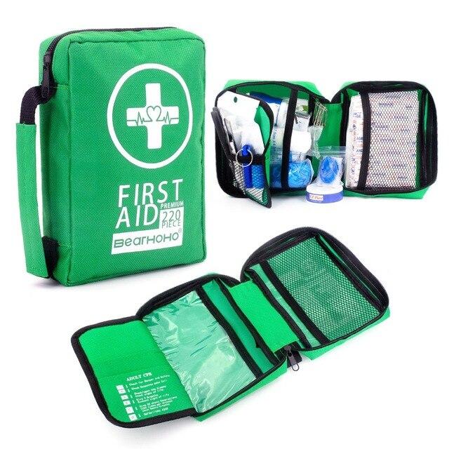 Mini botiquín de primeros auxilios portátil, resistente al agua, bolsa de primeros auxilios para coche, hogar, viaje, senderismo, Camping, Kits de emergencia al aire libre, 220 Uds.