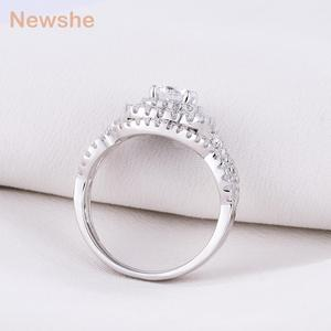 Image 5 - Newshe 2Pcs Wedding Ring Sets Classic Jewelry 1.9Ct AAA CZ Genuine 925 Sterling Silver Engagement Rings For Women JR4844