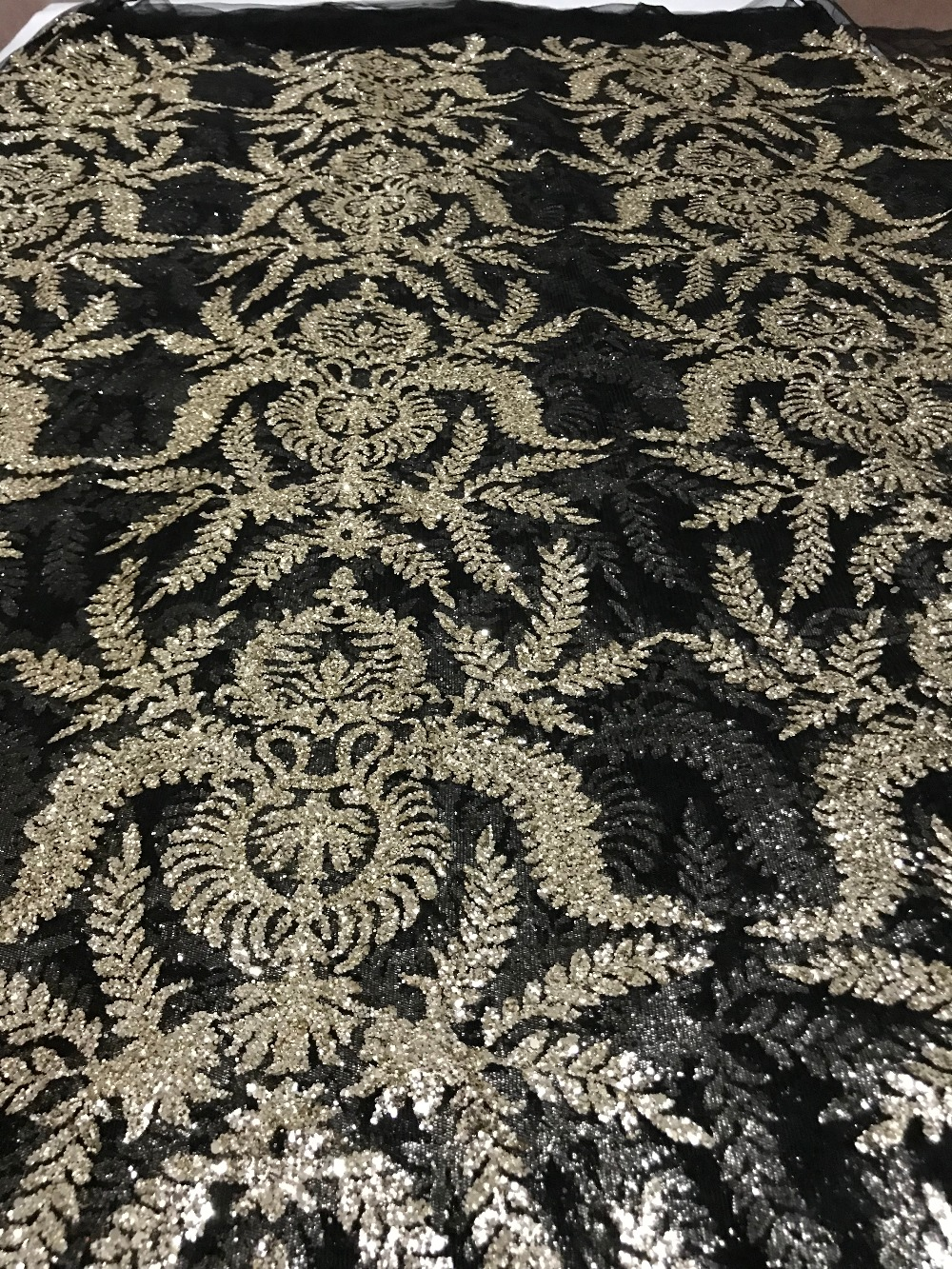 5yards glued print glitter tulle mesh fabric David 61204 unqiue for evening dress party wedding