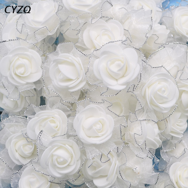 20Pcs/Lot 4cm PE Foam Silk Rose Artificial Flowers Heads for Wedding Home Decoration DIY Scrapbooking Wreath Fake Flower
