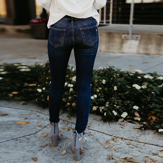 Women's ripped wash skinny jeans 1