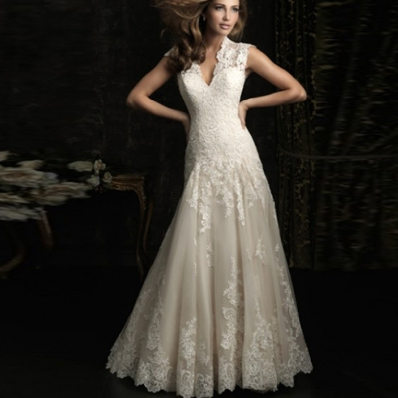 Embroidery Lace Wedding Dress 2019 Backless V Neck Plus