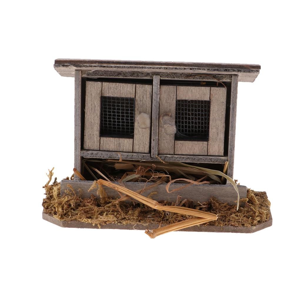 Miniature chicken coop nest Hen house fairy garden for 1//12 dollhouse decoraOD.