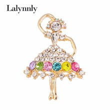 Charm Brooch Pins Multi Colors Rhinestone Dancing Girl Brooches For Women Wedding and Party Gift Jewelry X00431