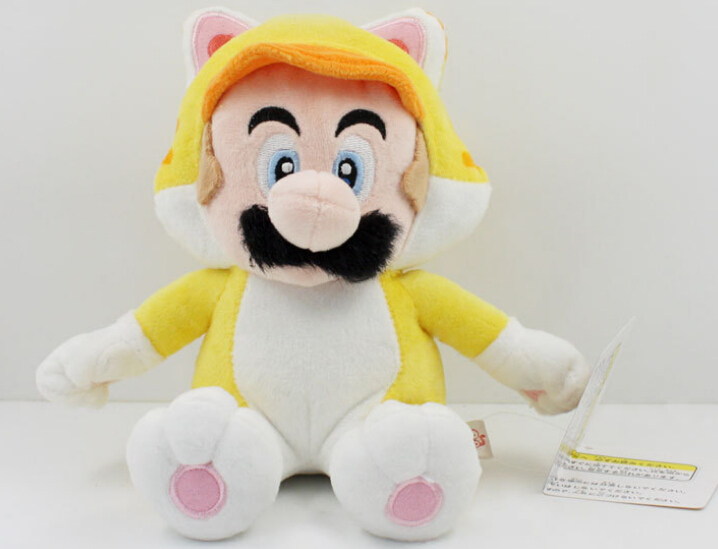 18cm Yellow cat Mario Plush Toy Free Shipping Super Mario 3D World Plush Stuffed Doll Re ...