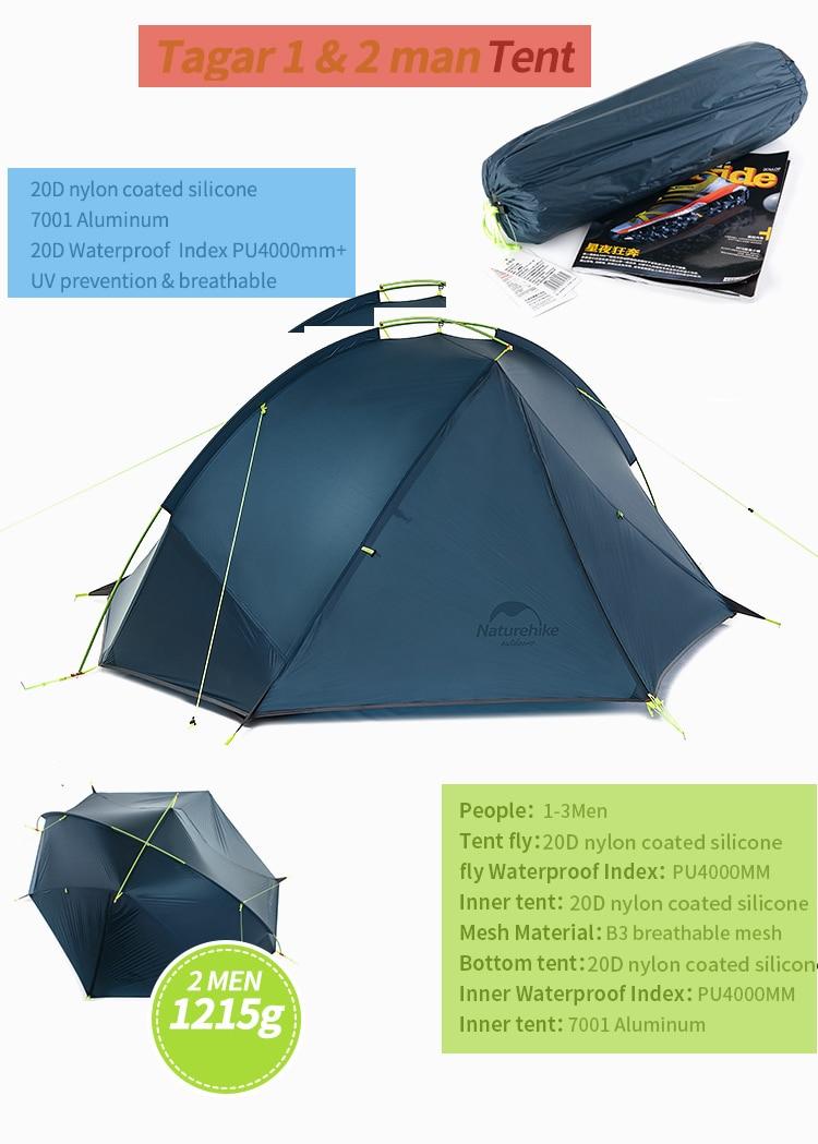 Naturehike taga 1-2 pessoa tenda acampamento mochila