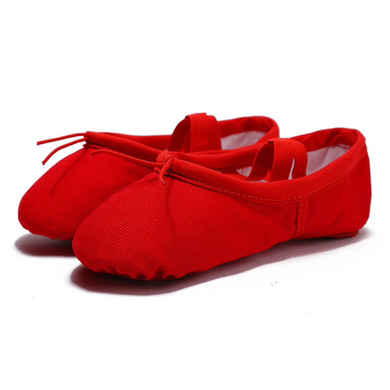 USHINE EU22-45 Cloth Head Yoga Slippers Teacher Gym Indoor Exercise Canvas Red Ballet Dance Shoes Children Kids Girls Woman