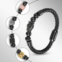 Jiayiqi Hiphop Natural Stone Beads Bracelet Unique Panther Bead Leather Bangle Stainless Steel Magnetic Clasps Punk Male Jewelry