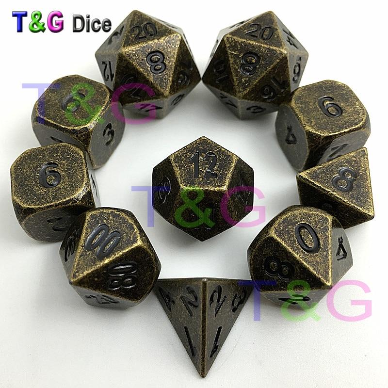 10 올드 골드 구리 다색 금속 주사위 14mm d6, RPG 또는 dnd 주사위 세트